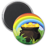 Pot Of Gold St. Patrick's Day Gift 6 Cm Round Magnet