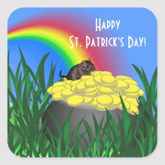 Pot of Gold w/Gerbil - St Patrick's Day Sticker Square Sticker