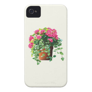 Pot of Pink Geraniums iPhone 4 Case