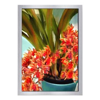 Pot ot Rust Colored Orchids 13 Cm X 18 Cm Invitation Card