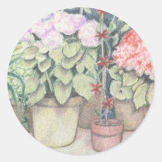Pot Plant Art Classic Round Sticker