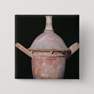 Pot with a scene of women bathing 15 cm square badge