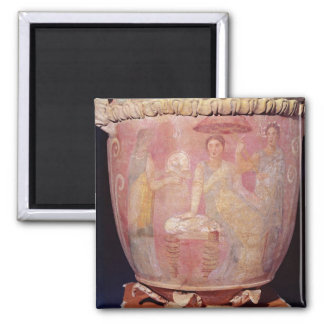 Pot with a scene of women bathing magnet