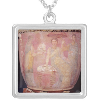 Pot with a scene of women bathing silver plated necklace