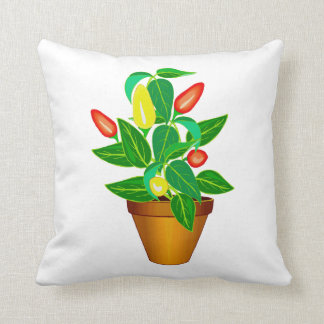 Pot with red and yellow pepper plant cushion