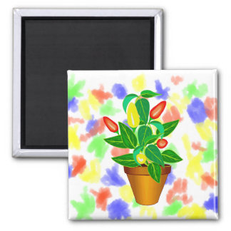 Pot with red and yellow pepper plant magnet