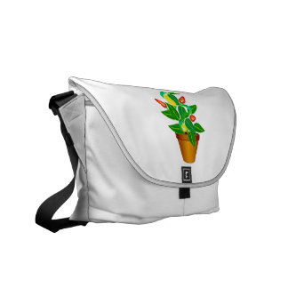 Pot with red and yellow pepper plant messenger bag