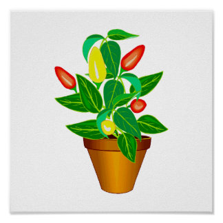 Pot with red and yellow pepper plant print