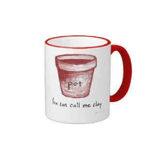 """Pot: """"You can call me clay."""" Vedanta mug, right"""
