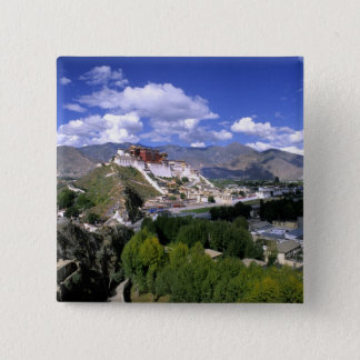 Potala Palace on mountain range from aher 15 Cm Square Badge