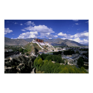Potala Palace on mountain range from aher Poster