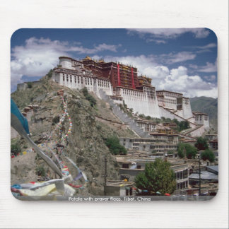 Potala with prayer flags, Tibet, China Mouse Pad