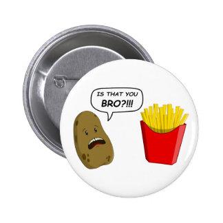 potato and fries 6 cm round badge