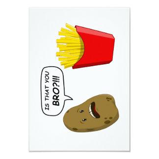 potato and fries 9 cm x 13 cm invitation card