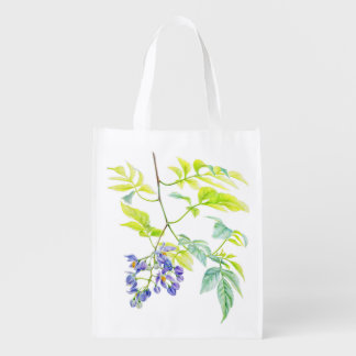 Potato creeper botanical watercolor art bag