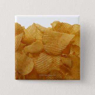 Potato crisps on white background, DFF image 15 Cm Square Badge
