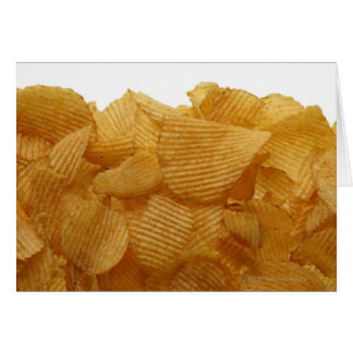 Potato crisps on white background, DFF image Card