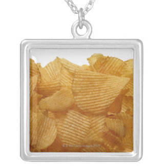 Potato crisps on white background, DFF image Silver Plated Necklace