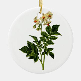 Potato plant round ceramic decoration