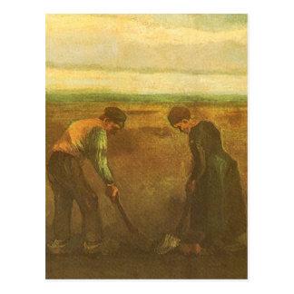 Potato Planting by Vincent van Gogh, Vintage Art Postcard