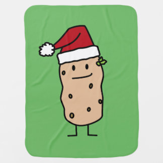 Potato Potatoes wearing  Christmas Santa Hat Happy Baby Blanket