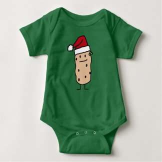 Potato Potatoes wearing  Christmas Santa Hat Happy Baby Bodysuit