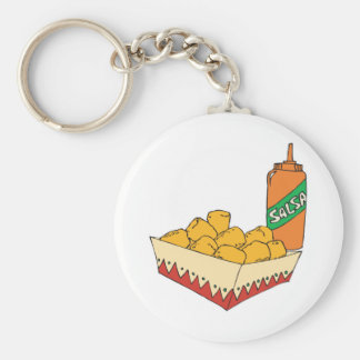 potato tater tots with salsa basic round button key ring