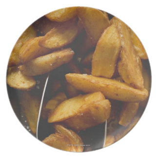 Potato wedges with salt (detail) plate