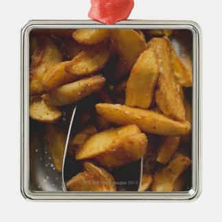 Potato wedges with salt (detail) Silver-Colored square decoration