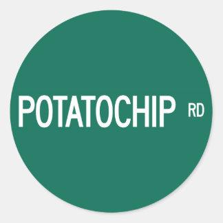 Potatochip Road, Street Sign, Missouri, US Round Sticker