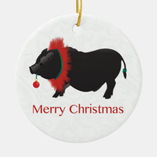 Potbellied Pig Merry Christmas Design Christmas Ornament