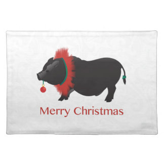 Potbellied Pig Merry Christmas Design Cloth Placemat