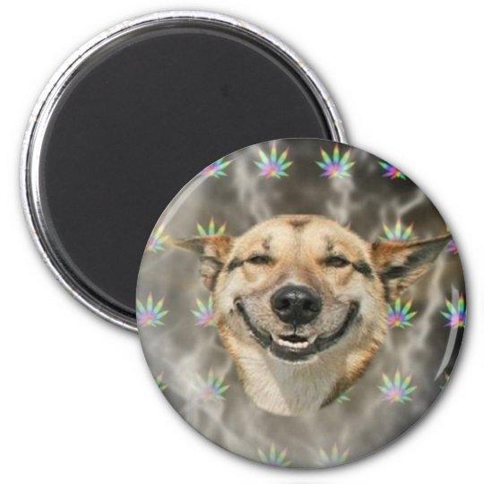 Pothead Dog 6 Cm Round Magnet