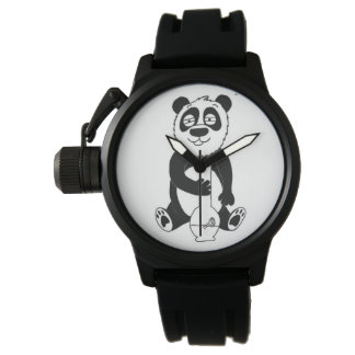 Pothead Panda Crown Protector Rubber Strap Watch