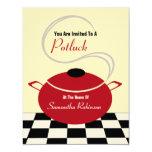 Potluck Invite - Black White & Red Kitchen 11 Cm X 14 Cm Invitation Card