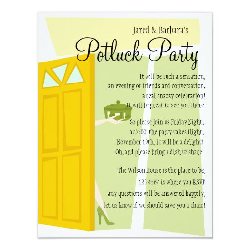 Potluck Party 11 Cm X 14 Cm Invitation Card