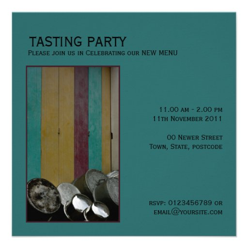 Pots and Pans green Invitation
