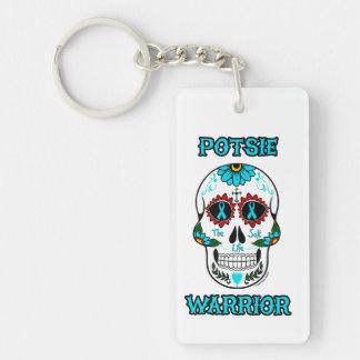 POTSIE WARRIOR sugar skull Double-Sided Rectangular Acrylic Key Ring