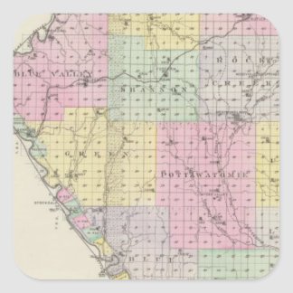 Pottawatomie County, Kansas 2 Square Sticker