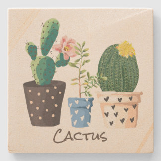 Potted Cactus Custom Stone Coaster