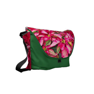 Potted Flower - Red Christmas Poinsettia Picture Courier Bags