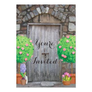 Potted Garden Wood Door Family Reunion Invitation