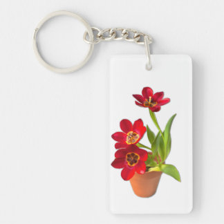 Potted Mature Red Tulips Photograph Double-Sided Rectangular Acrylic Key Ring