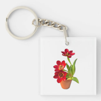 Potted Mature Red Tulips Photograph Double-Sided Square Acrylic Key Ring
