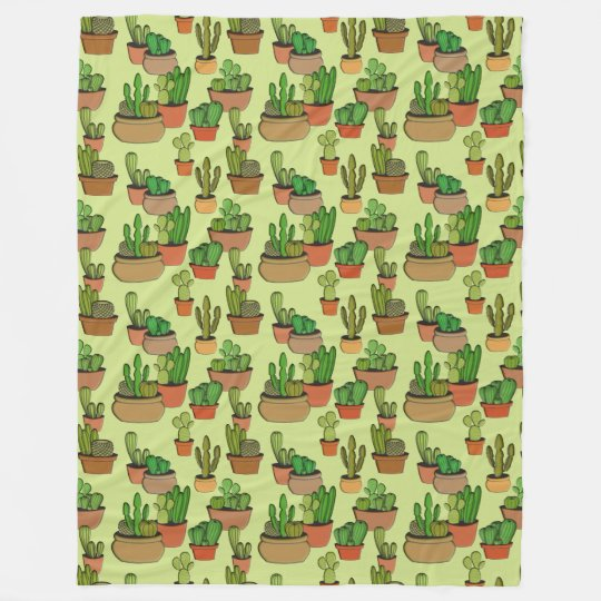 Potted Natural Clay Cacti Fleece Blanket