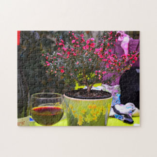 Potted pink Flowers and wine in Paris Jigsaw Puzzle