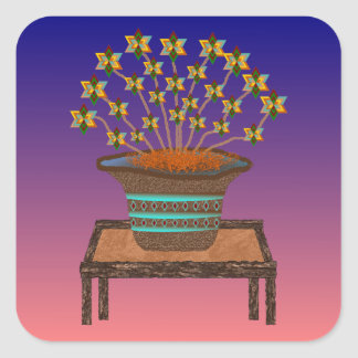 Potted Pinwheels Stickers-20 per sheet Square Sticker