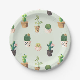 Potted Plant Garden Themed Party Plate 7 Inch Paper Plate