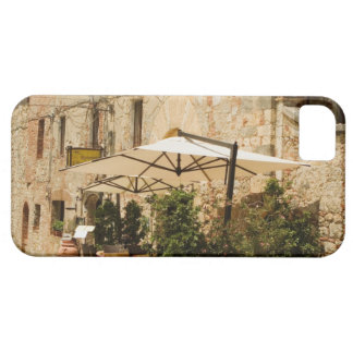 Potted plants and patio umbrellas in front of a iPhone 5 case