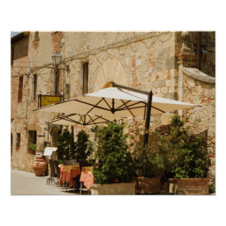 Potted plants and patio umbrellas in front of a poster